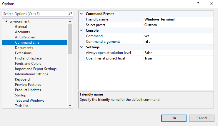 Configure Open Command Line to use Windows Terminal